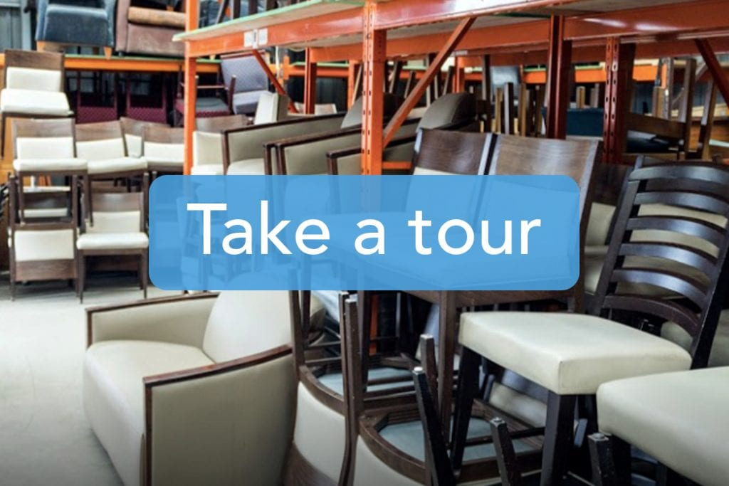 Catering furniture warehouse tour
